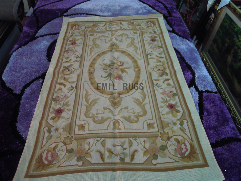 needlepoint rugs Small Size 2.5' X 4' Ivory Field Ivory Border hand stitched