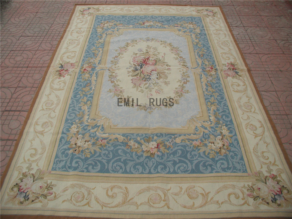 needlepoint carpet 5.5' X 8' Blue Field Ivory Border handmade