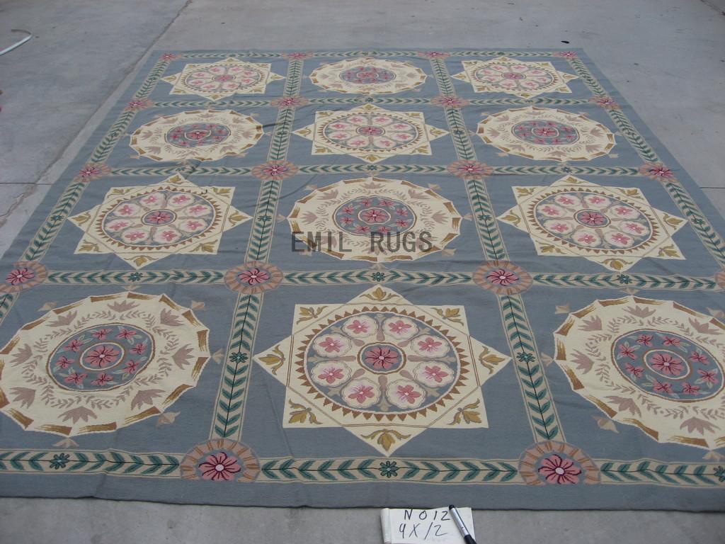 needlepoint carpets 9' X 12' Gray Field Gray Border handmade