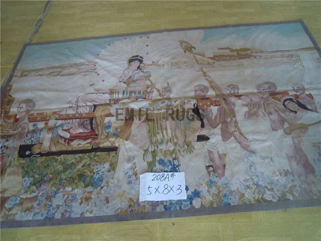 wool antique authentic aubusson gobelin 5' X 8' tapestry wall hangings