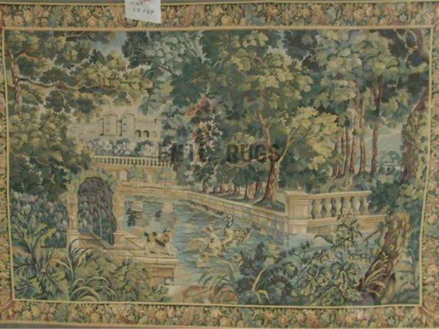 wool antique european french aubusson gobelin 5.8' X 8.4' art tapestry