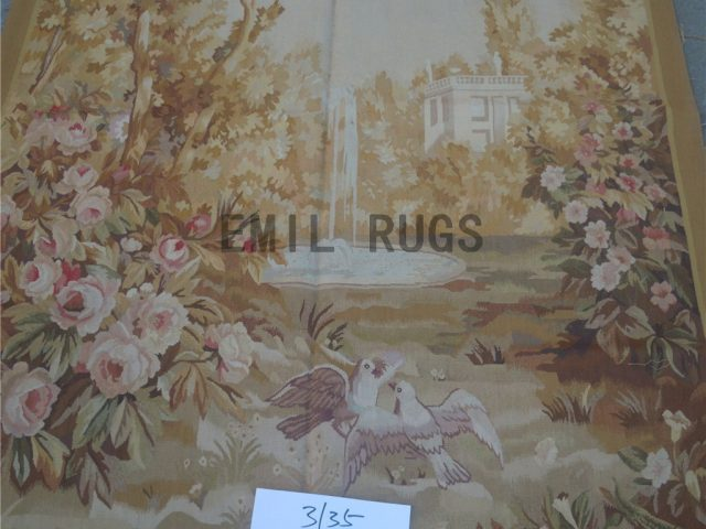 wool antique authentic aubusson gobelin 4.3' X 5.9' art tapestry
