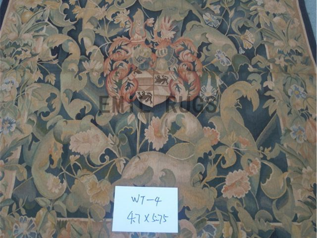 wool antique european french aubusson gobelin 4.7' X 5.75' tapestries wall hangings