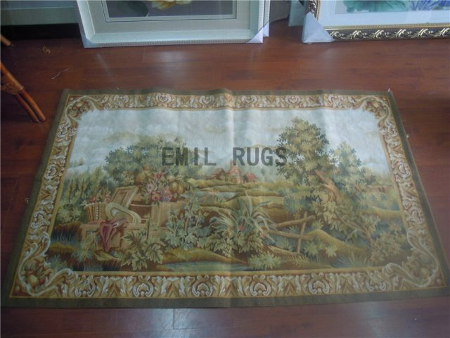 wool antique flat weave aubusson gobelin 3' X 5' tapestry wall hangings