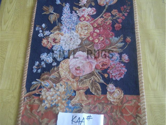 wool vintage authentic aubusson gobelin 1.96' X 4' wall tapestry
