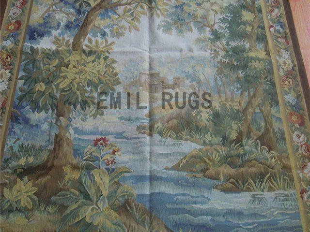 wool antique flat weave aubusson gobelin 4.25' X 6.05' art tapestries