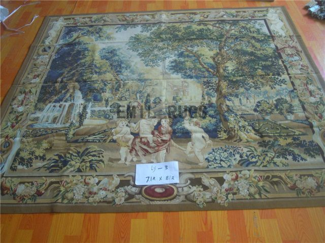 wool vintage hand woven aubusson gobelin 7.1' X 8.1' tapestry wall hangings
