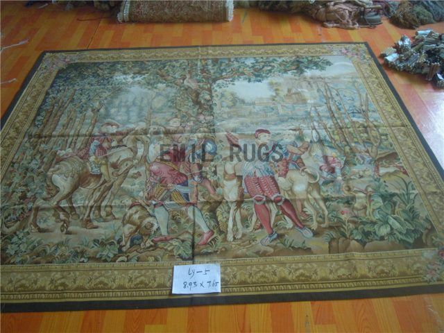 wool antique handmade aubusson gobelin 7.65' X 8.93' tapestry wall hangings
