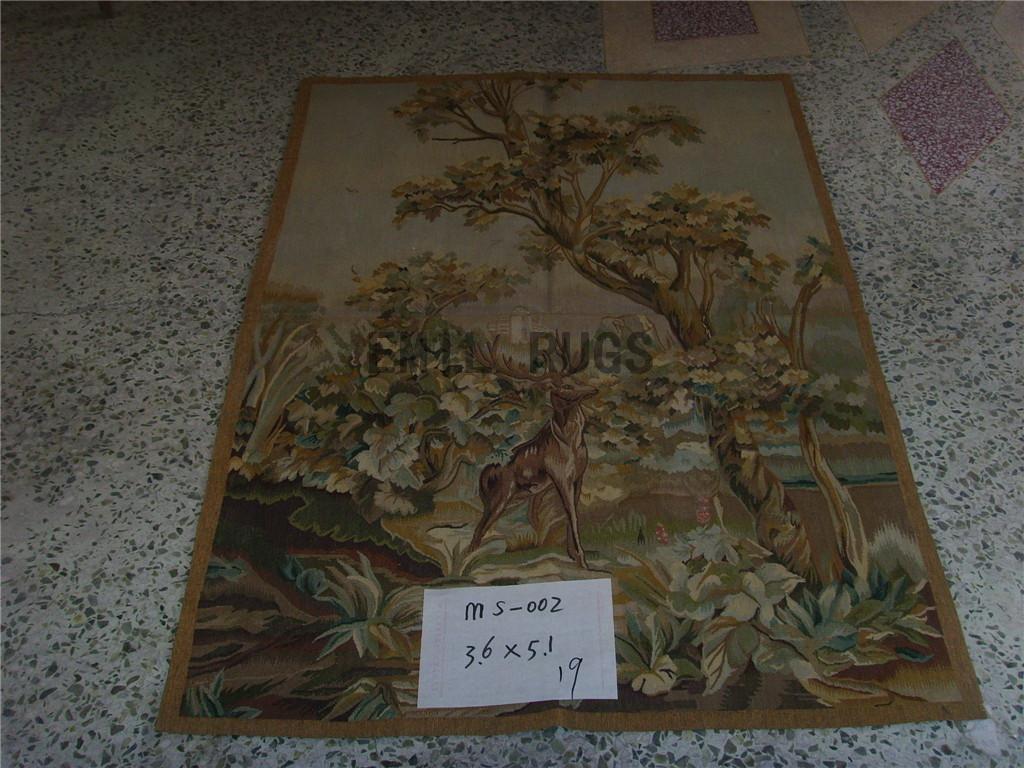 wool antique hand woven aubusson gobelin 3.6' X 5.1' art tapestry