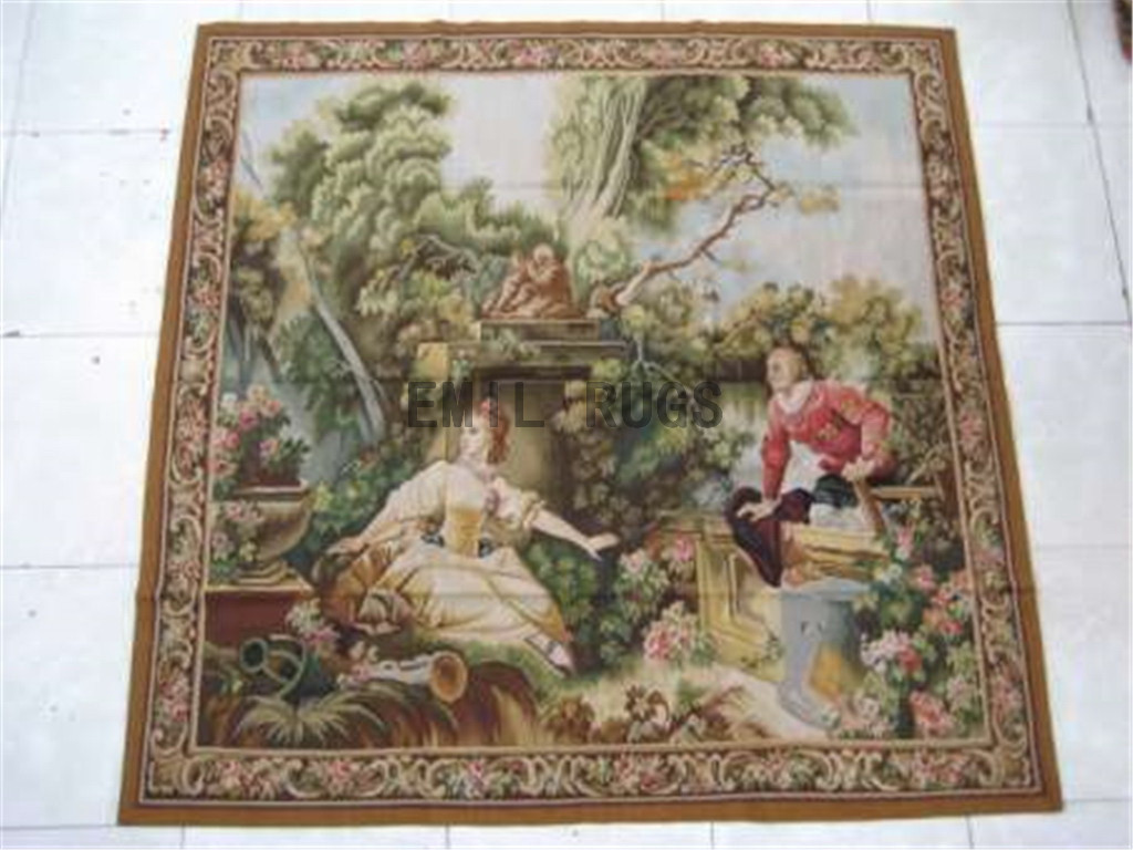wool antique authentic aubusson gobelin 5.8' X 6' tapestry wall hangings