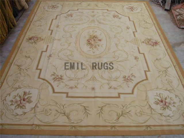 flat weave aubusson carpets 4.9' X 5.6' Ivory Field Ivory Border authentic 100% New Zealand wool french