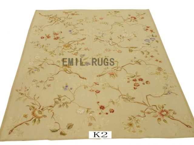 flat weave aubusson carpets 9' X 16' Ivory Field Ivory Border 100% New Zealand wool european handmade