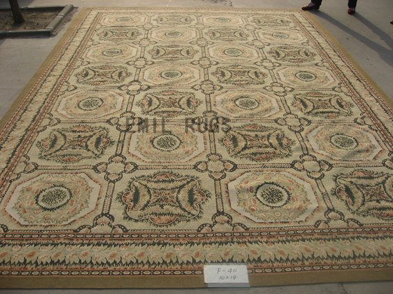 flat weave aubusson carpet Oversized 10' X 14' Ivory Field Ivory Border 100% New Zealand wool european handmade