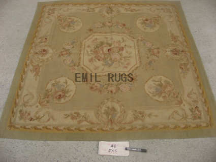 flat weave aubusson carpet Square 5' X 5' Beige Field Ivory Border 100% New Zealand wool hand woven