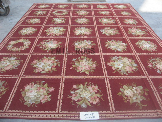 flat weave aubusson rug Oversized 10' X 14' Burgundy Field Burgundy Border authentic 100% New Zealand wool french