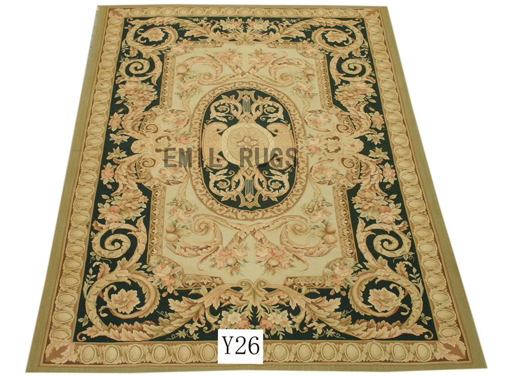 flat weave aubusson carpets Oversized 10' X 14' Ivory Field Black Border authentic 100% New Zealand wool french