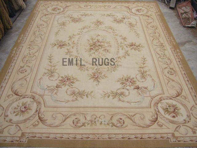 flat weave aubusson carpets Oversized 11.5' X 16.4' Ivory Field Ivory Border 100% New Zealand wool european handmade