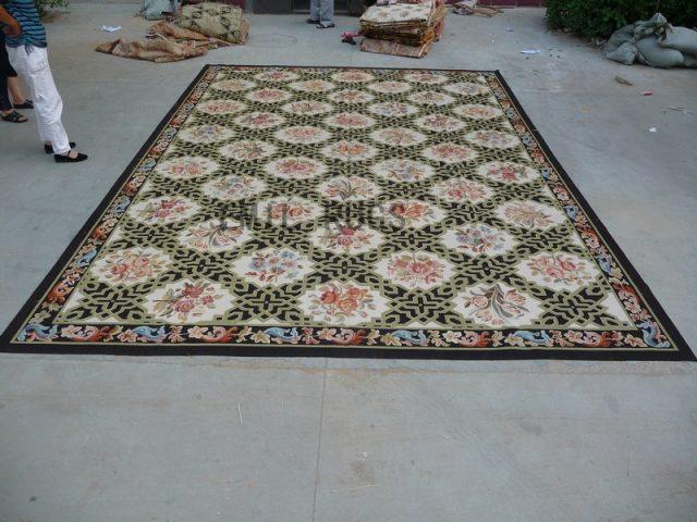 flat weave aubusson rug Oversized 11' X 16' Black Field Black Border 100% New Zealand wool european handmade