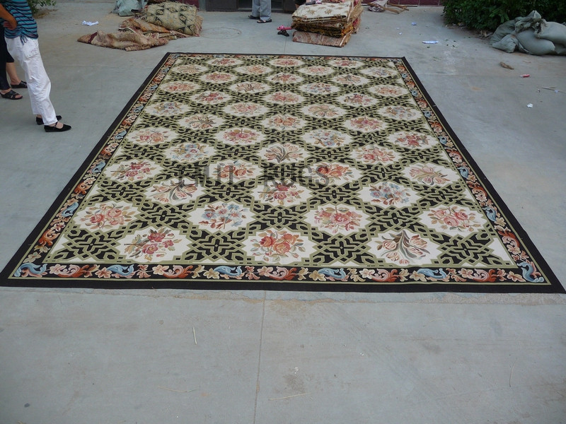 flat weave aubusson rug Oversized 11' X 16' Black Field Black Border 100% New Zealand wool european handmade