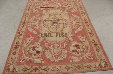 flat weave aubusson carpet 5' X 8' Pink Field Ivory Border authentic 100% New Zealand wool french