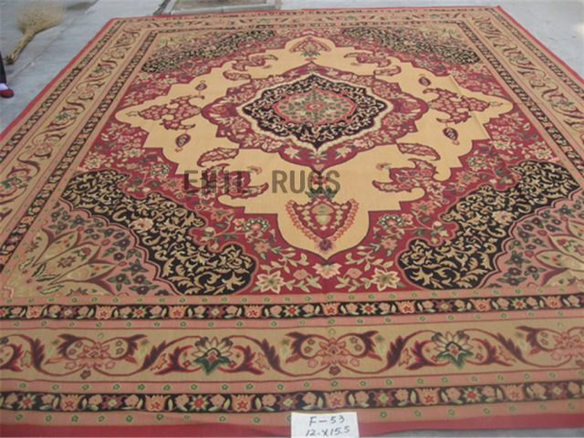 flat weave aubusson carpet Oversized 12' X 15' Multi-Colored Field Multi-Colored Border authentic 100% New Zealand wool french