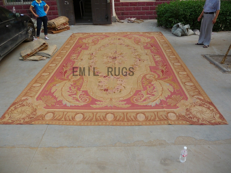 flat weave aubusson rug Oversized 12' X 18' Red Field Beige Border 100% New Zealand wool european handmade