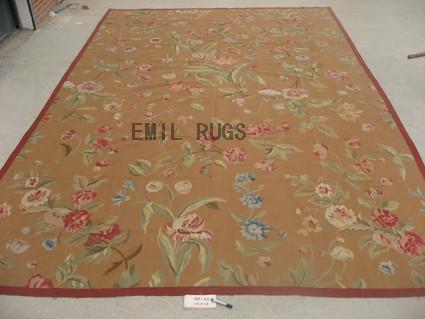 flat weave aubusson rugs Oversized 12' X 18' Beige Field Beige Border 100% New Zealand wool european handmade