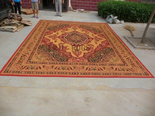 flat weave aubusson carpets Oversized 13' X 15' Beige Field Beige Border 100% New Zealand wool european handmade
