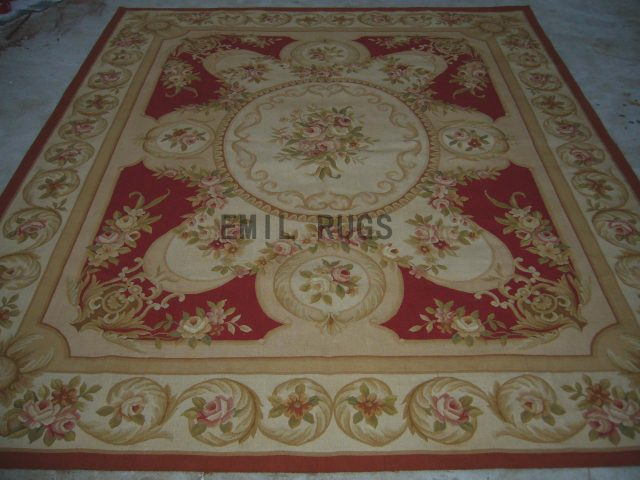 flat weave aubusson rug 5' X 8' Red Field Ivory Border authentic 100% New Zealand wool french