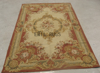flat weave aubusson rugs 5' X 8' Red Field Multi-Colored Border authentic 100% New Zealand wool french