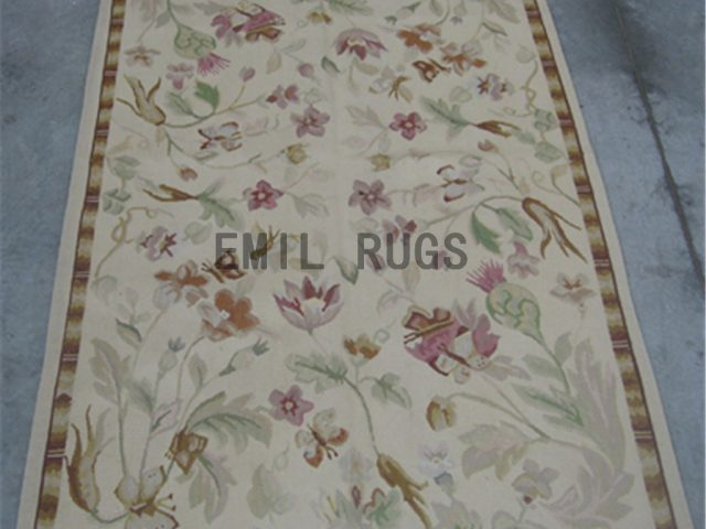 flat weave aubusson carpets 3' X 5' Ivory Field Ivory Border authentic 100% New Zealand wool french