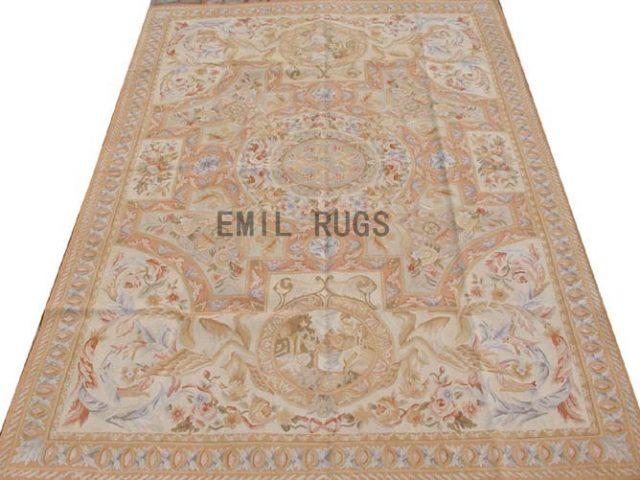 flat weave aubusson carpet 6' X 9' Ivory Field Beige Border 100% New Zealand wool hand woven