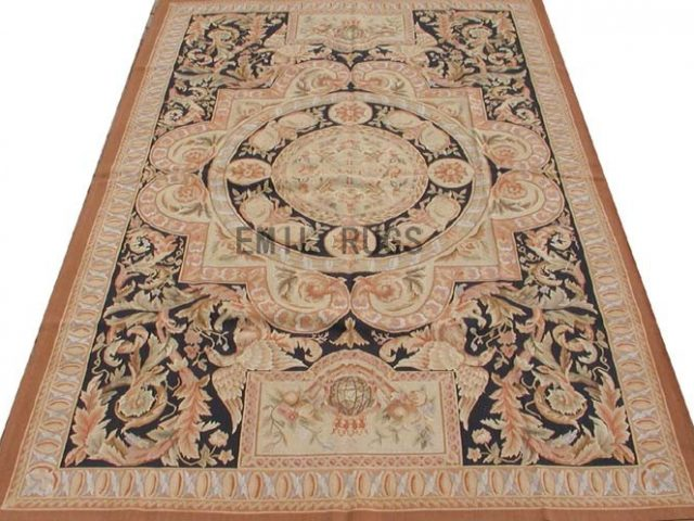 flat weave aubusson carpet 6' X 9' Black Field Beige Border 100% New Zealand wool hand woven