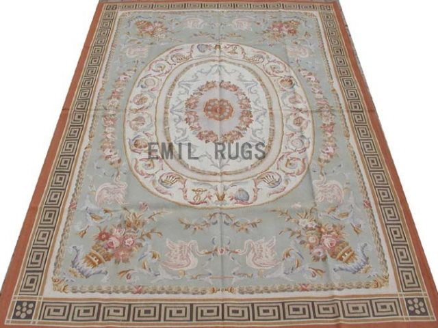 flat weave aubusson rug 6' X 9' Blue Field Black Border 100% New Zealand wool hand woven