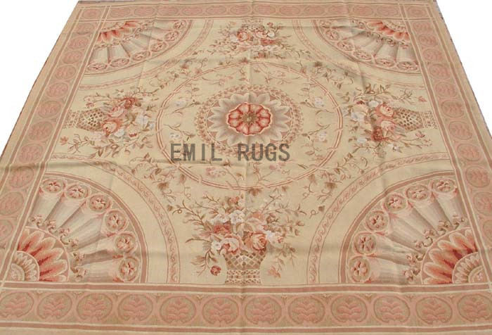 flat weave aubusson carpet Square 8.3' X 8.3' Ivory Field Pink Border 100% New Zealand wool european handmade