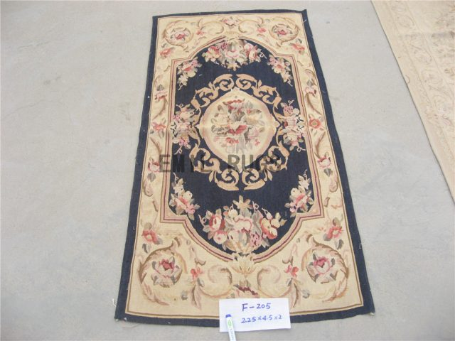 flat weave aubusson rug 3' X 5' Black Field Ivory Border authentic 100% New Zealand wool french