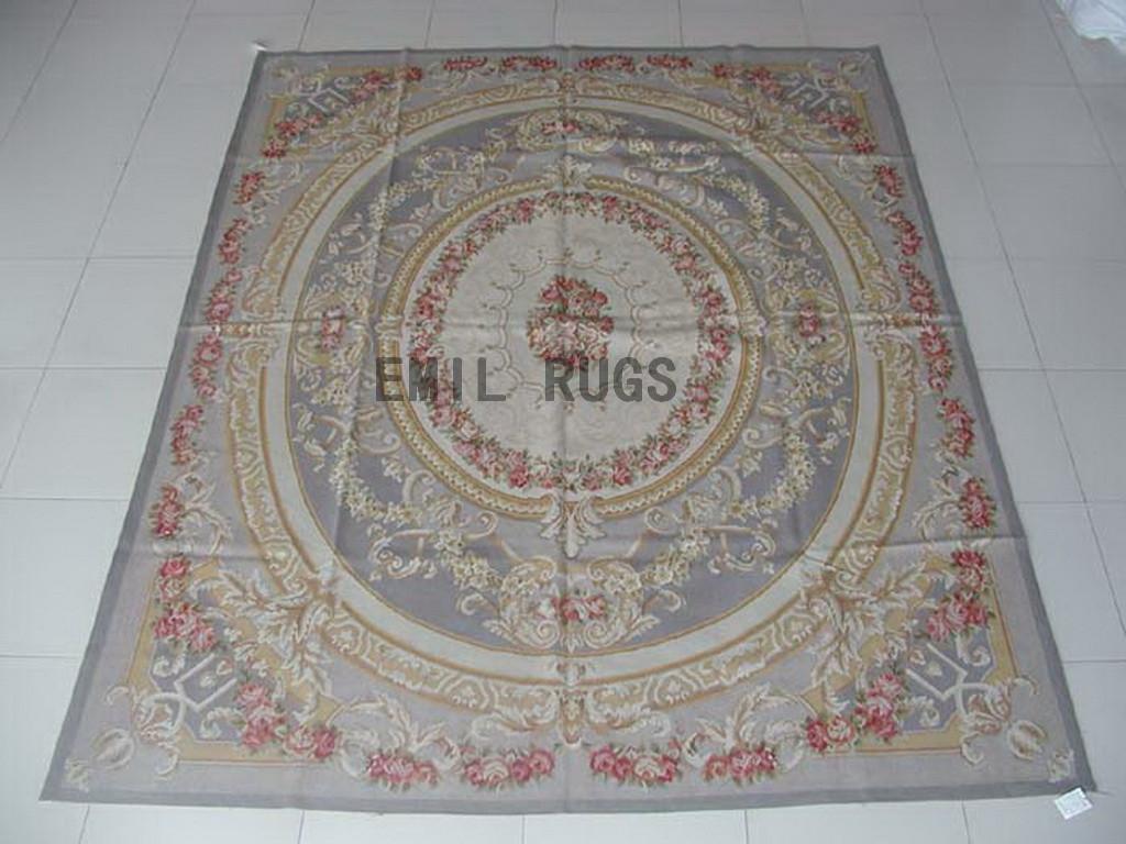 flat weave aubusson carpets 8' X 10' Gray Field Gray Border 100% New Zealand wool european handmade