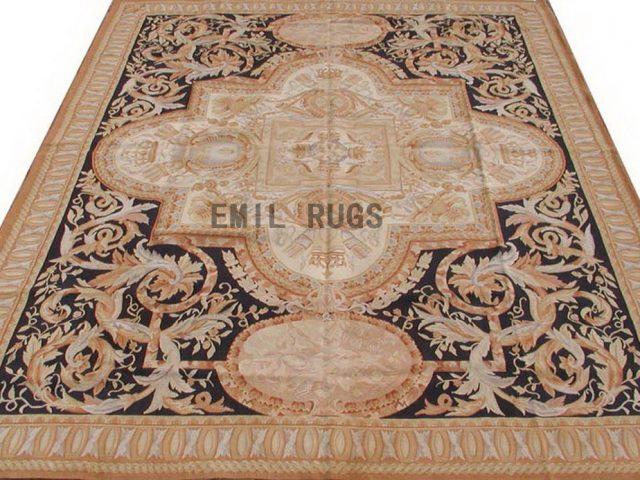 flat weave aubusson carpet 8' X 10' Black Field Beige Border 100% New Zealand wool european handmade