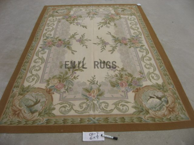 flat weave aubusson rugs 8' X 10' Ivory Field Green Border 100% New Zealand wool hand woven