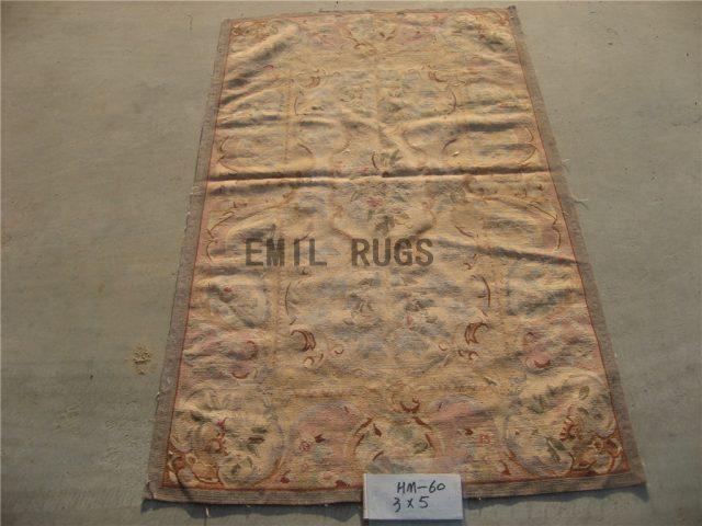 flat weave aubusson carpet 3' X 5' Ivory Field Ivory Border 100% New Zealand wool hand woven