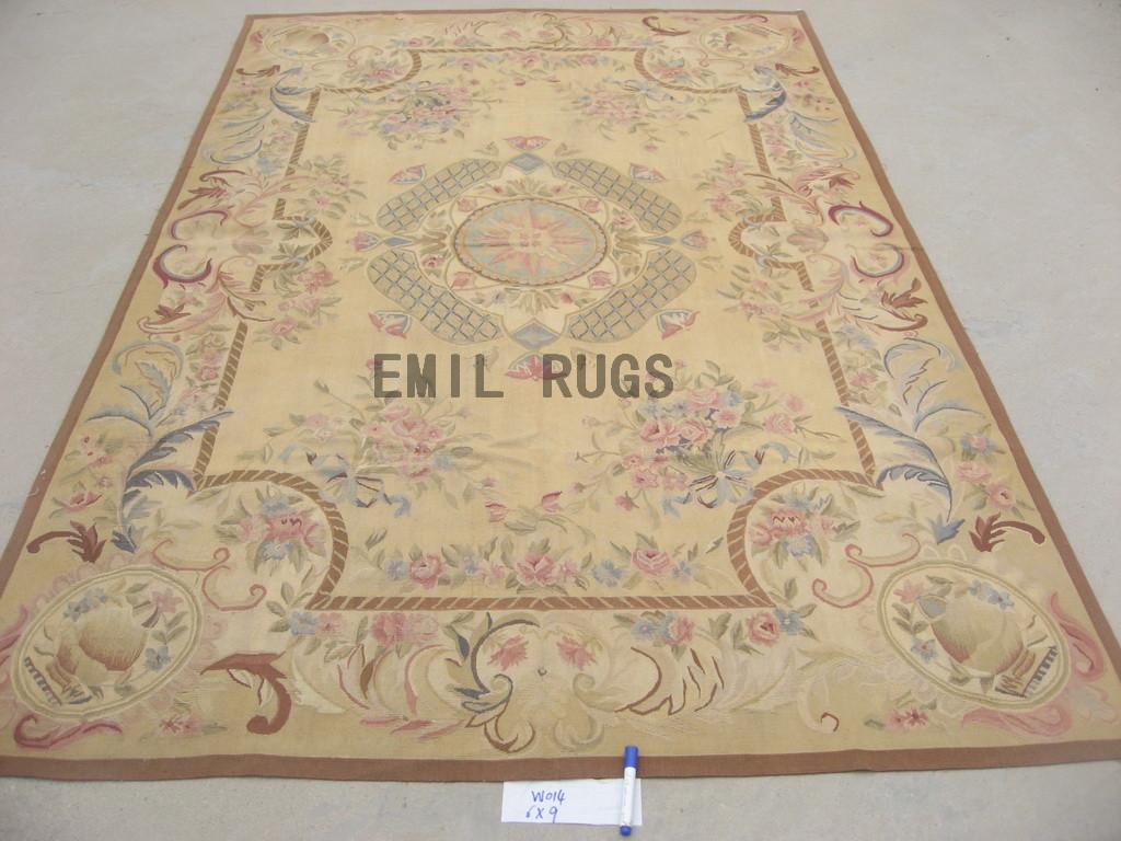 flat weave aubusson carpet 8' X 10' Yellow Field Yellow Border 100% New Zealand wool hand woven