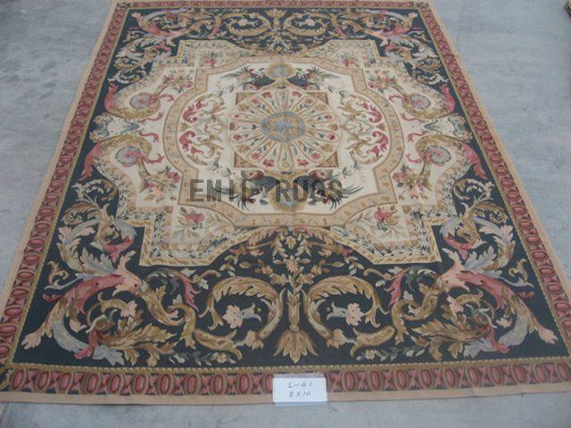 flat weave aubusson carpet 8' X 10' Black Field Pink Border 100% New Zealand wool hand woven