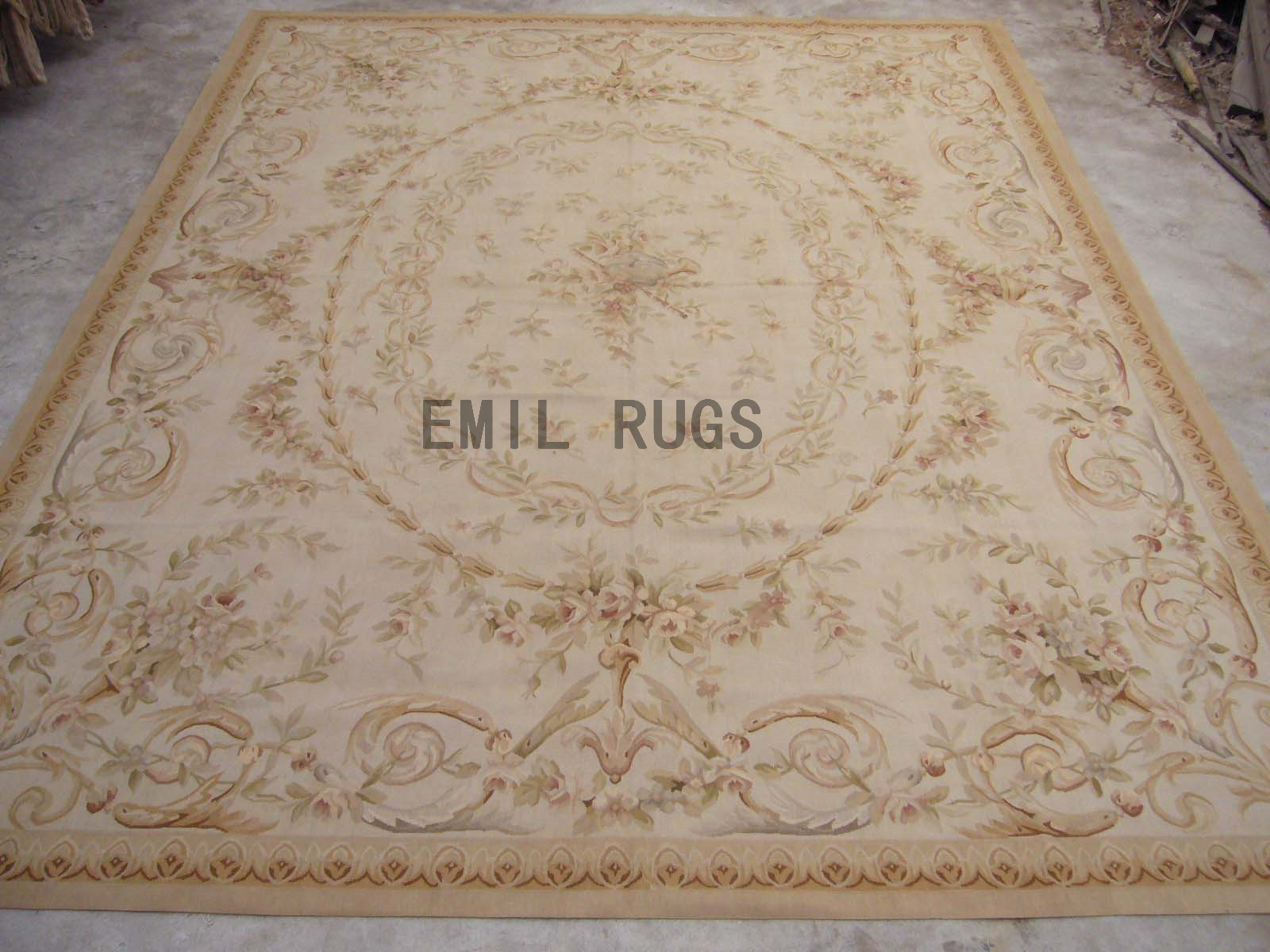 flat weave aubusson carpet Square 9.8' X 9.8' Ivory Field Ivory Border 100% New Zealand wool european handmade