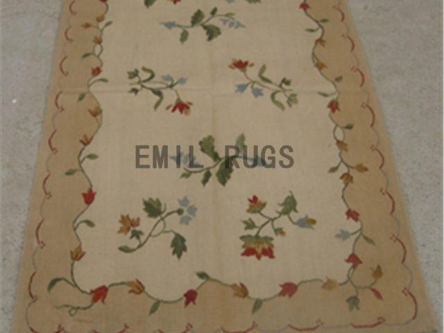 flat weave aubusson carpet 3' X 5' Ivory Field Beige Border 100% New Zealand wool hand woven