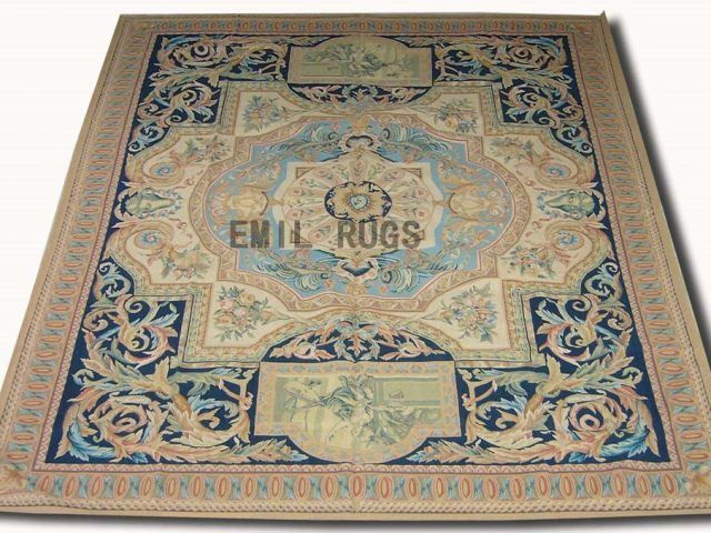 flat weave aubusson rugs 9' X 12' Blue Field Beige Border 100% New Zealand wool hand woven