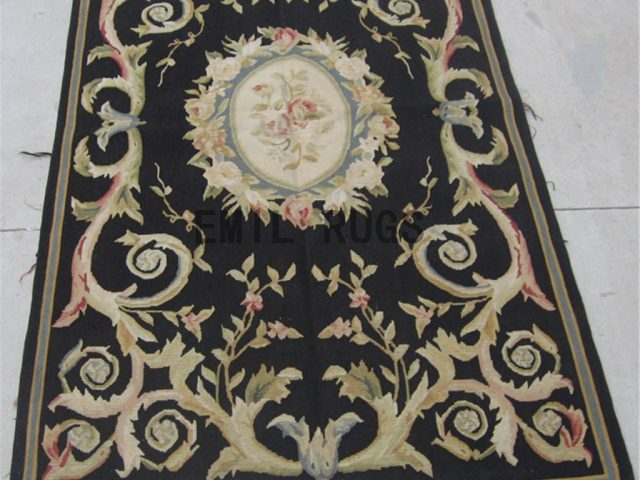 flat weave aubusson rugs 3' X 5' Black Field Black Border authentic 100% New Zealand wool french