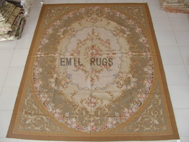 flat weave aubusson rug 9' X 12' Gray Field Beige Border 100% New Zealand wool european handmade