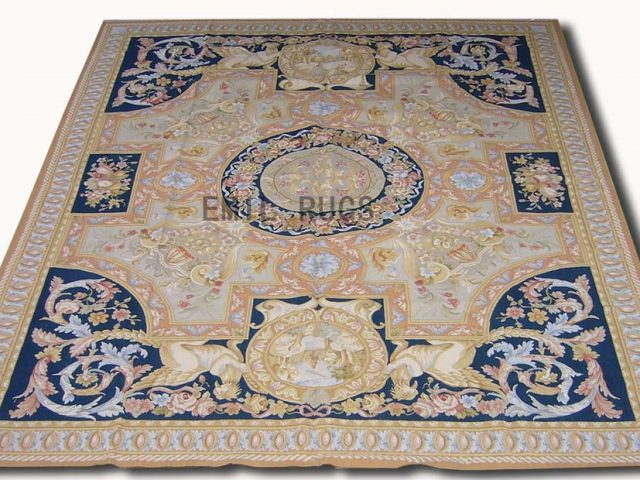 flat weave aubusson rugs 9' X 12' Blue Field Blue Border authentic 100% New Zealand wool french
