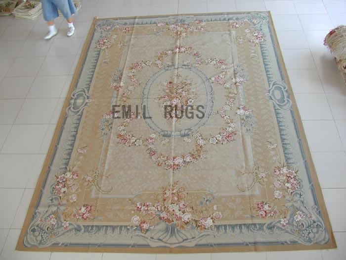 flat weave aubusson rugs 9' X 12' Ivory Field Blue Border 100% New Zealand wool european handmade
