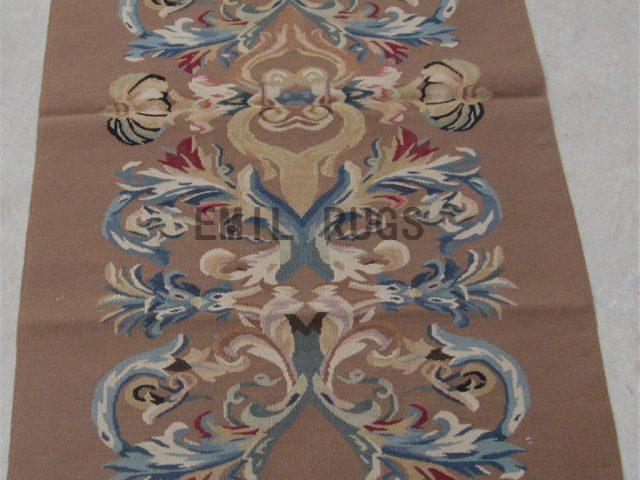 flat weave aubusson carpet 3' X 5' Beige Field Beige Border 100% New Zealand wool hand woven